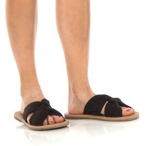 NEW VANS black suede leather sandals 8